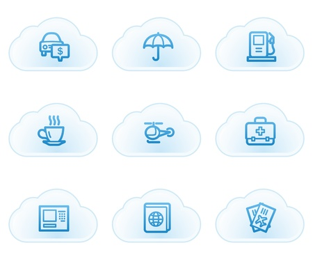 Travel web icons set 4, cloud buttons Vector