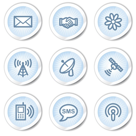 access point: Communication web icons, light blue stickers