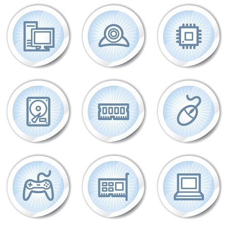 nettop: Computer web icons, light blue stickers