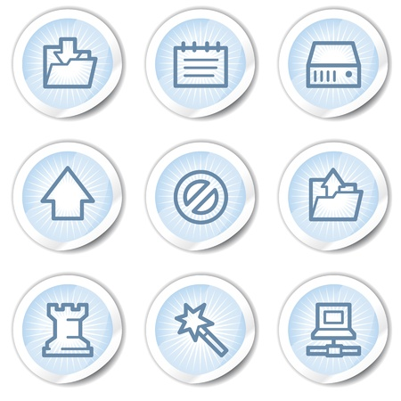 Data web icons, light blue stickers Stock Vector - 22122657
