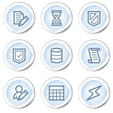 safety net: Database web icons, light blue stickers