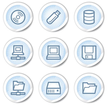 fdd: Drives and storage web icons, light blue stickers Illustration
