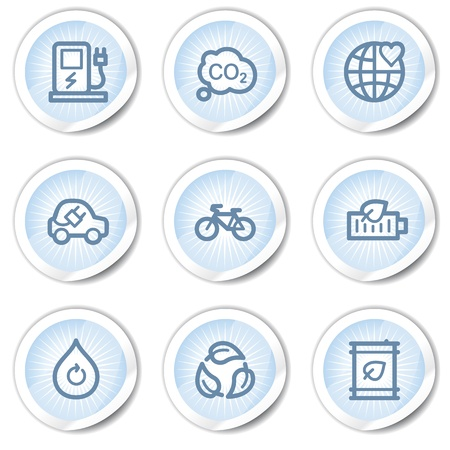 Ecology web icons set 4, light blue stickers Vector