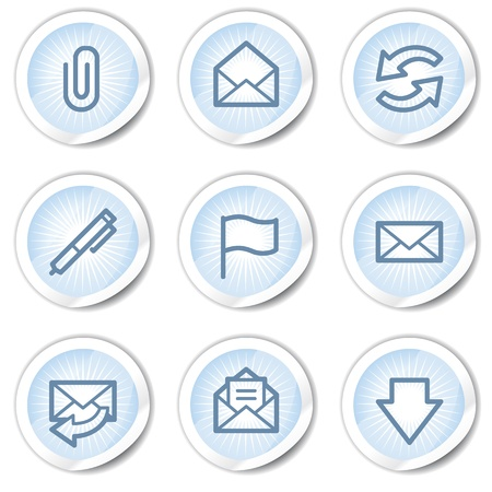 webmail: E-mail  web icons, light blue stickers