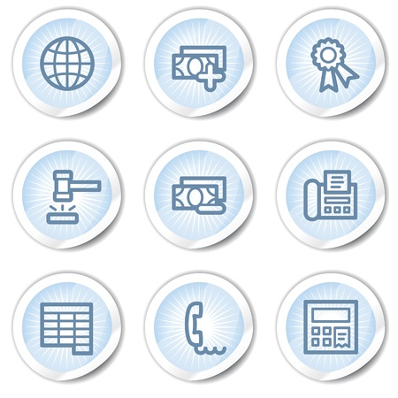 Finance web icons set 2, light blue stickers Stock Vector - 22122689
