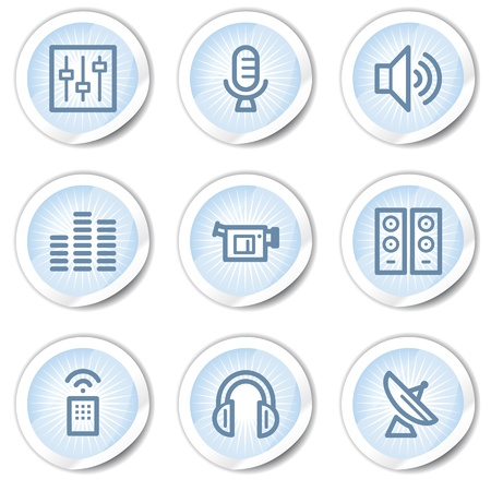 Media web icons, light blue stickers