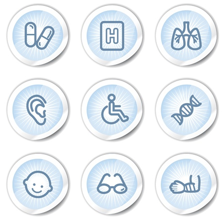 Medicine web icons set 2, light blue stickers Vector