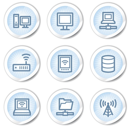 access point: Network web icons, light blue stickers Illustration