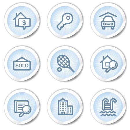 Real estate web icons, light blue stickers Stock Vector - 22122706