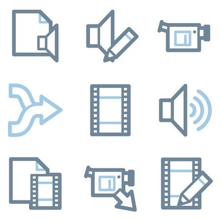 Audio video edit web icons orange and gray contour series royalty audio video edit icons blue line contour series vector ccuart Images