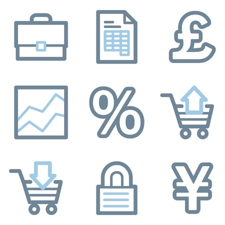 Business icons, blue line contour series Vector
