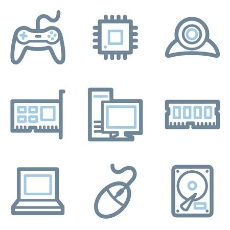 Computer icons, blue line contour series Vector