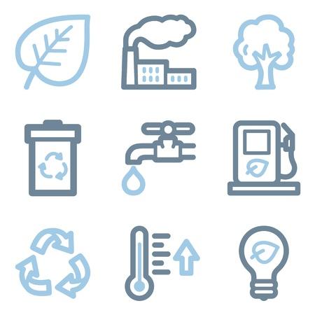 Ecology icons, blue line contour series Vector