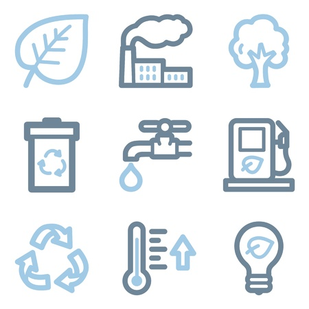 ahorrar agua: Iconos de la ecología, línea azul serie de contorno