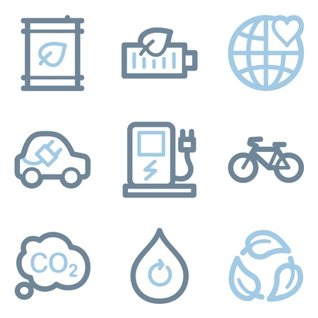 Ecology icons, blue line contour series Vector