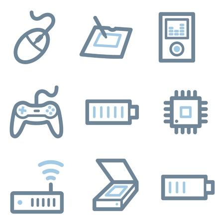 Electronics icons, blue line contour series Vector