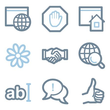 icq: Internet icons, blue line contour series