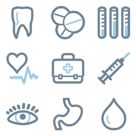 Medicine icons, blue line contour series Stock Vector - 22156400