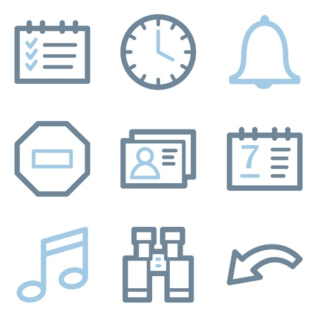 todo: Organizer icons, blue line contour series Illustration