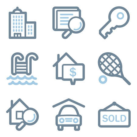 Real estate icons, blue line contour series Stock Vector - 22156404