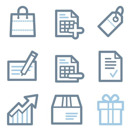 Shopping icons, blue line contour series Vector