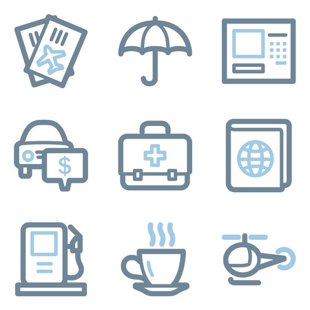 Travel icons, blue line contour series Vector
