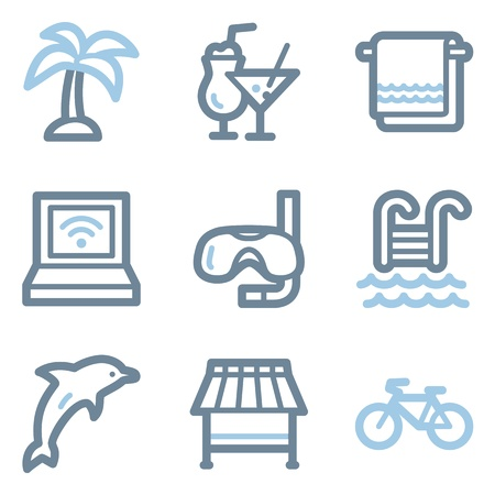 Vacation icons, blue line contour series Vector