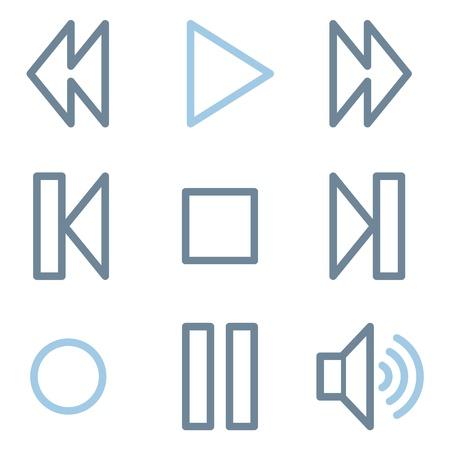 rewind icon: Media player icons, blue line contour series