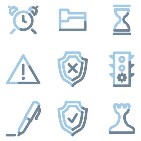 Administration icons, light blue contour Vector
