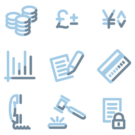 Business icons, light blue contour Vector