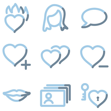 dating icons: Dating icons, light blue contour