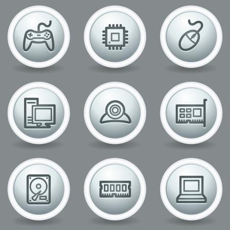 nettop: Computer web icons, circle grey matt buttons