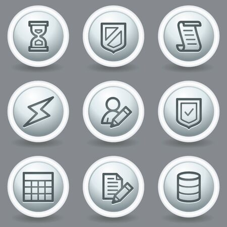 Database web icons, circle grey matt buttons Vector