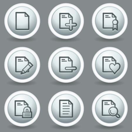matt: Document web icons set 2, circle grey matt buttons Illustration