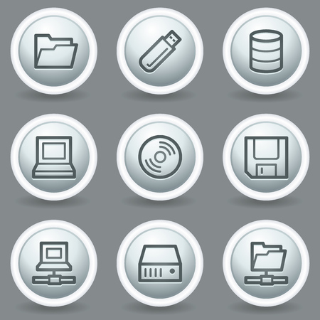 fdd: Drives and storage web icons, circle grey matt buttons Illustration