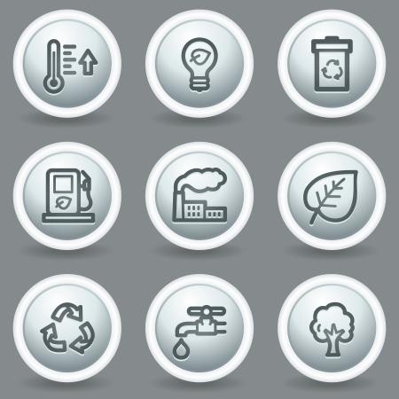 Ecology web icons set 1, circle grey matt buttons Vector