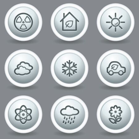 Ecology web icons set 2, circle grey matt buttons Stock Vector - 23014376