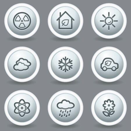 Ecology web icons set 2, circle grey matt buttons Stock Vector - 23014376