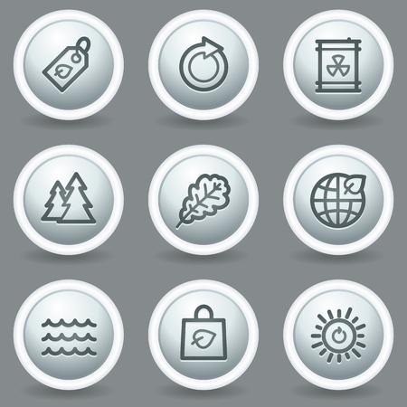 matt: Ecology web icons set 3, circle grey matt buttons
