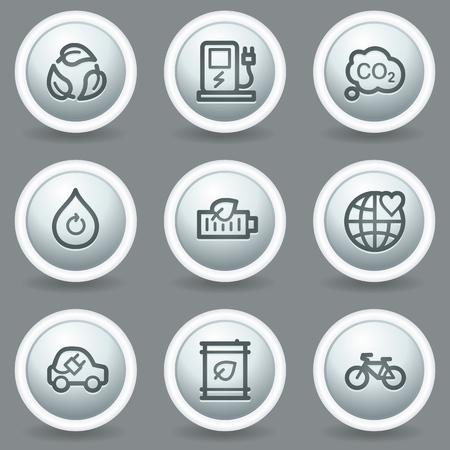 matt: Ecology web icons set 4, circle grey matt buttons Illustration