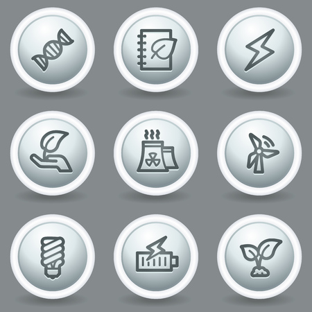 Ecology web icons set 5, circle grey matt buttons Stock Vector - 23014378