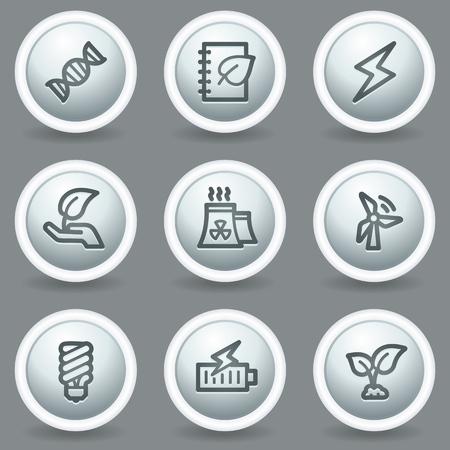 aqua icon: Ecology web icons set 5, circle grey matt buttons Illustration