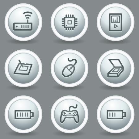 matt: Electronics web icons set 2, circle grey matt buttons Illustration