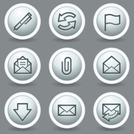 webmail: E-mail web icons, circle grey matt buttons Illustration