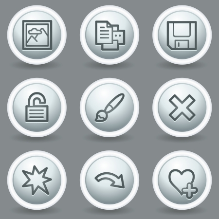 Image viewer web icons set 2, circle grey matt buttons Stock Vector - 23014402