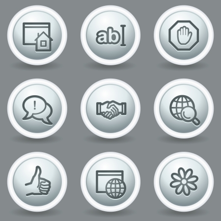 Internet  web icons set 1, circle grey matt buttons Vector