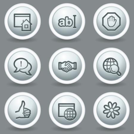 icq: Internet  web icons set 1, circle grey matt buttons
