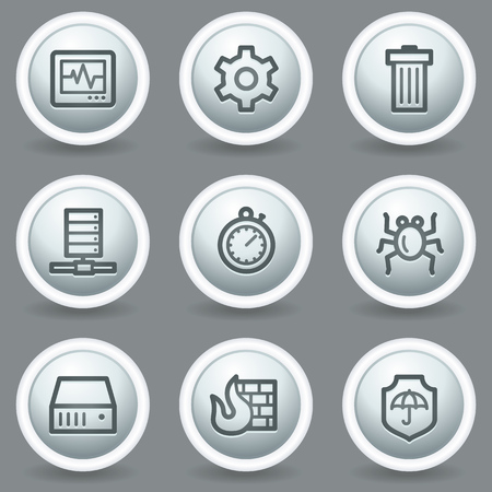 adware: Internet security web icons, circle grey matt buttons Illustration