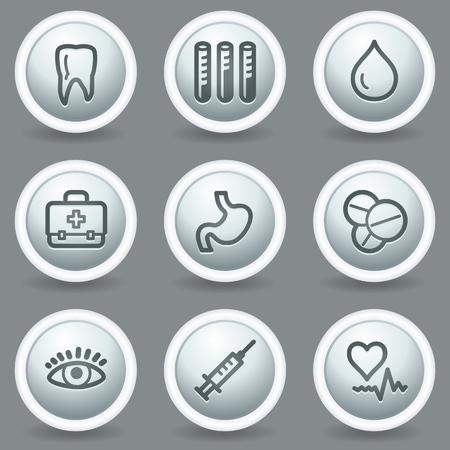 matt: Medicine  web icons set 1, circle grey matt buttons Illustration