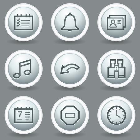 matt: Organizer web icons, circle grey matt buttons Illustration